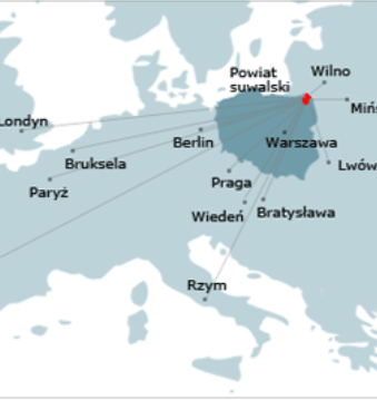 Mapa przedstawiająca lokalizację powiatu suwalskiego na tle Polski i Europy